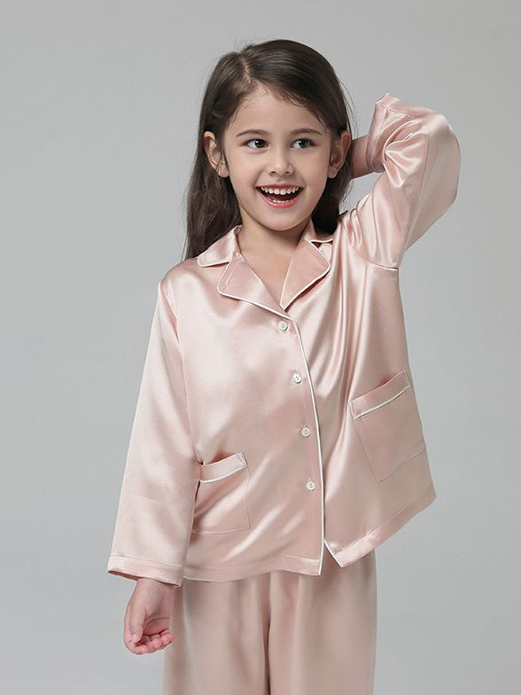19 Momme Kids Long Silk Pajama Set For Boys and Girls