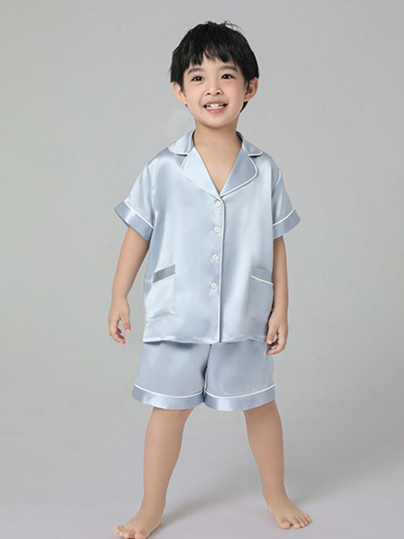 19 Momme Kids Short Silk Pajama Set For Boys and Girls