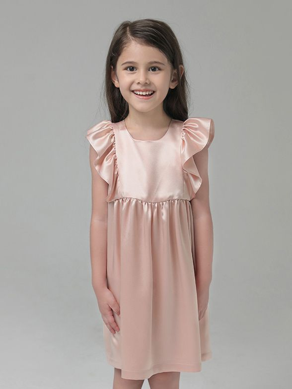 19 Momme Girls Nice Silk Nightgown With Ruffles