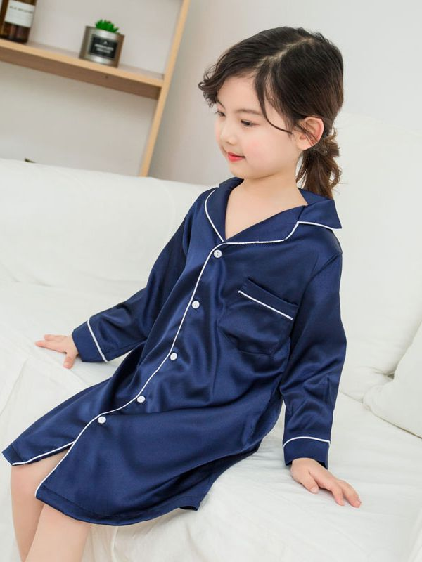 19 Momme Classic Long Sleeve Silk Sleep Shirt For Girls