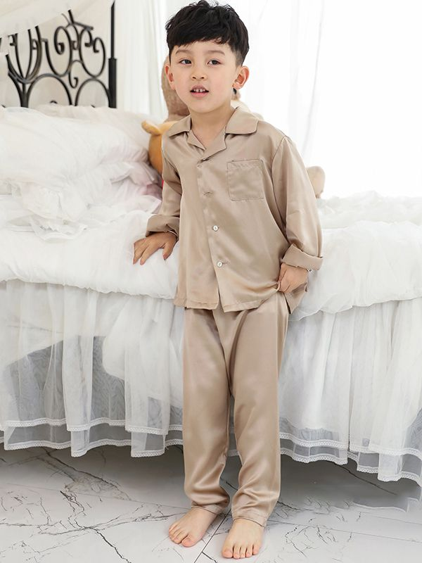 19 Momme Boys Classic Long Silk Pajama Set