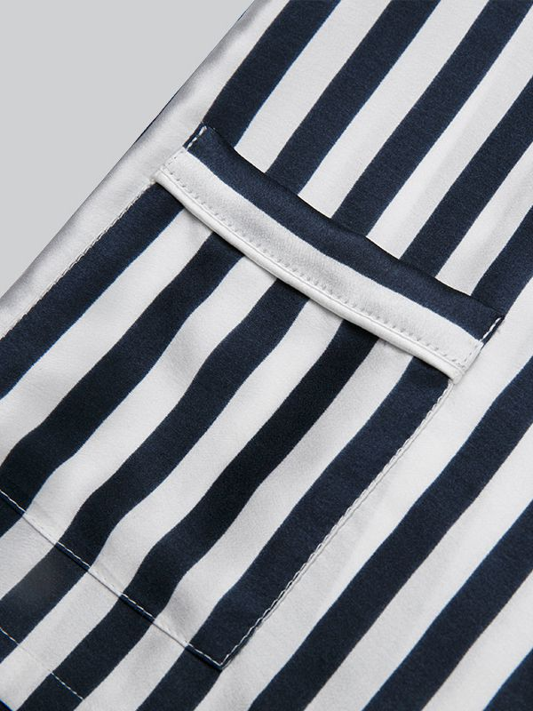 19 Momme Boys and Girls Kids Striped Silk Pajama Shorts Set