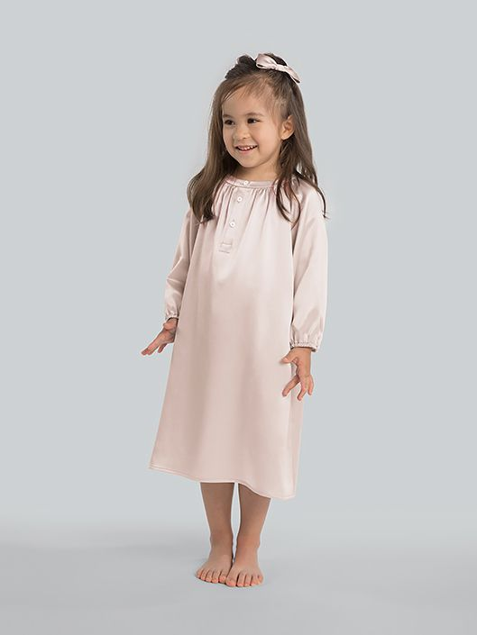 19 Momme Baby Girls Long Sleeve Silk Nightgown