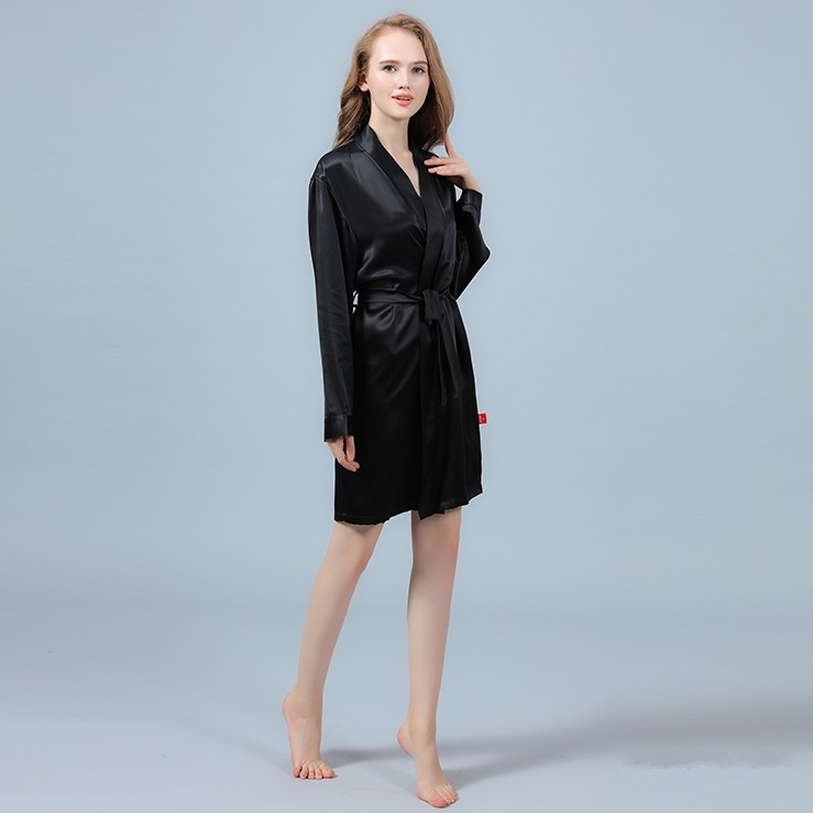 22 Momme Short Silk Robe With Long Sleeves