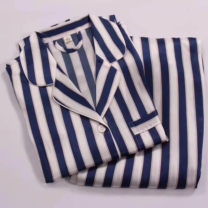 fdaab43fb263d8 Black And White Striped Silk Pajama Set For Women [FS015] - $159.00 ...