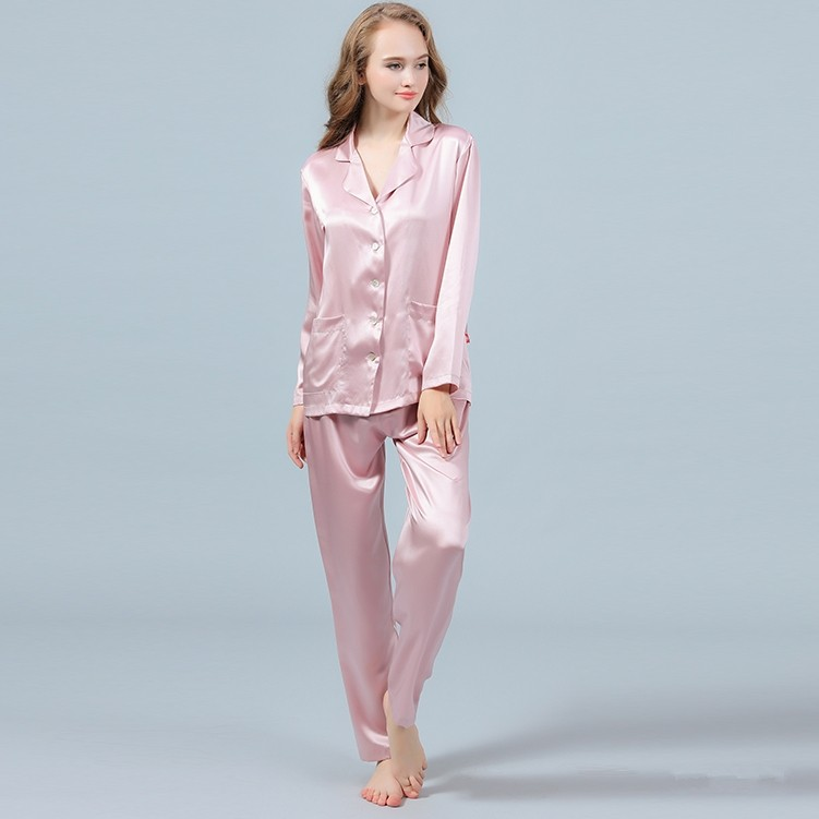 79ba9f3e77d1 100% pure Mulberry silk pajama Set for Women