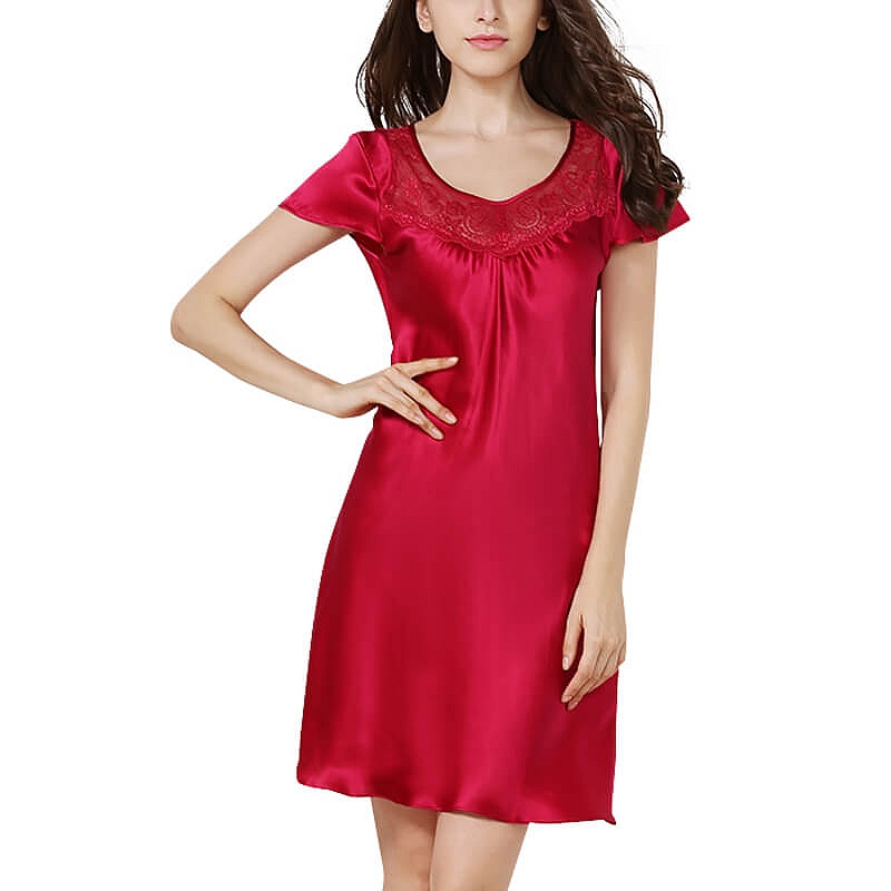 35d7943ba4 19 Momme Short Sleeved Classic Silk Nightgown [FS059] - $82.00 : Freedomsilk
