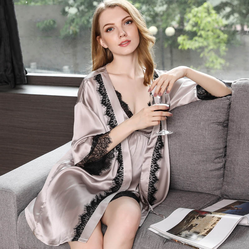 19 Momme Silk Nightgown Robe Set with Lace Edge  FS093  -  189.00 ... 95df5988a