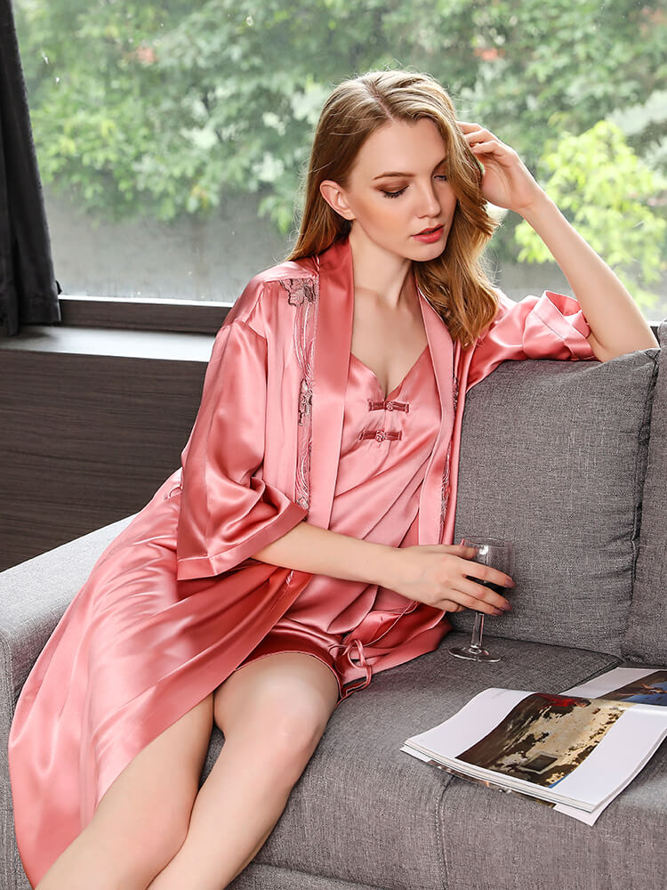 22 Momme Luxurious Mulberry Silk Nightgown Robe Set  FS096  -  249.00    Freedomsilk 667fade1d