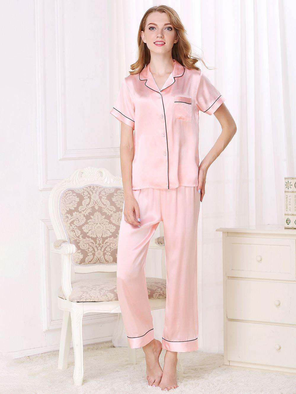 19ac416d884ea 19 Momme Silk Shirt And Pants Pajama Set  FS067  -  149.00   Freedomsilk