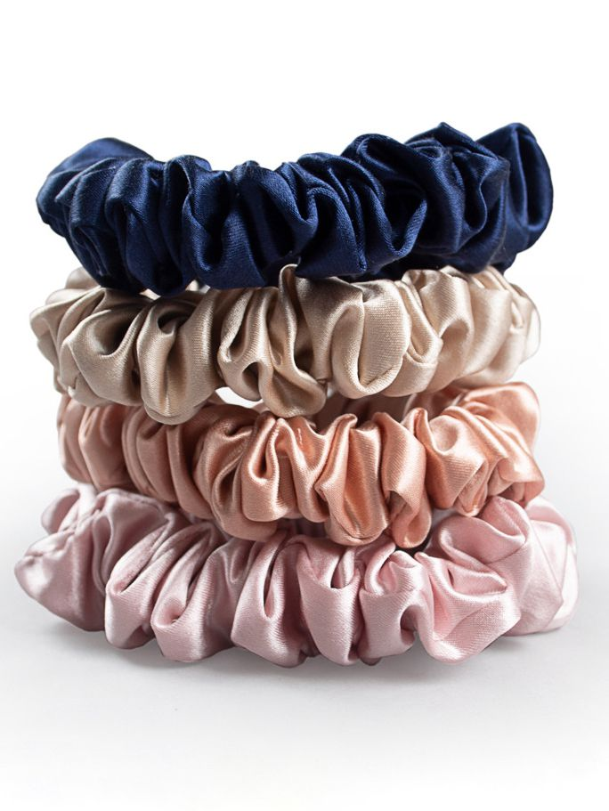 5 Pack Medium Size Flower Silk Hair Scrunchies