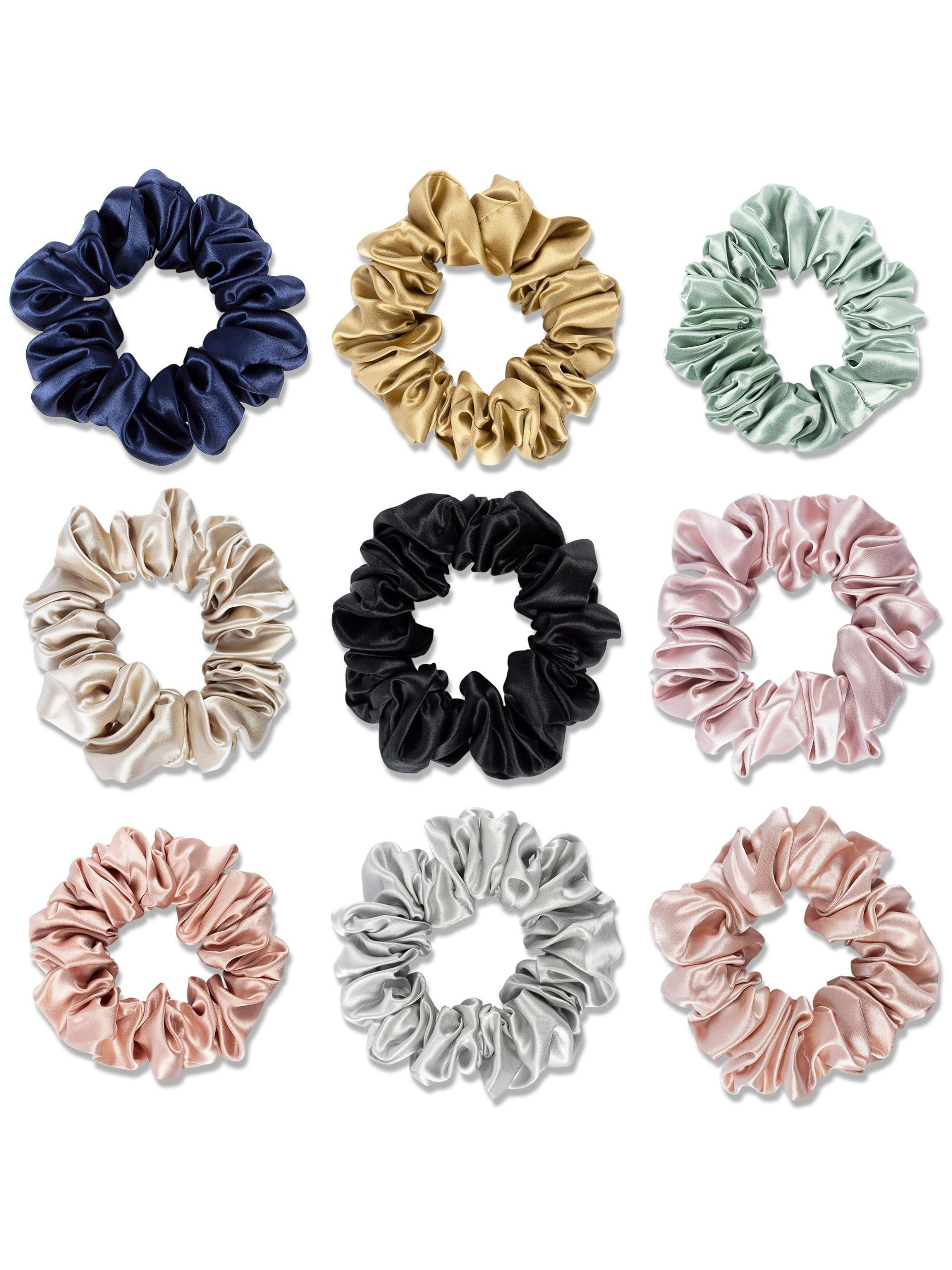 3 Pack Large Size Flower Silk Hair Scrunchies