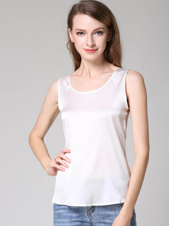 22 Momme Basic Round Collar Silk Top