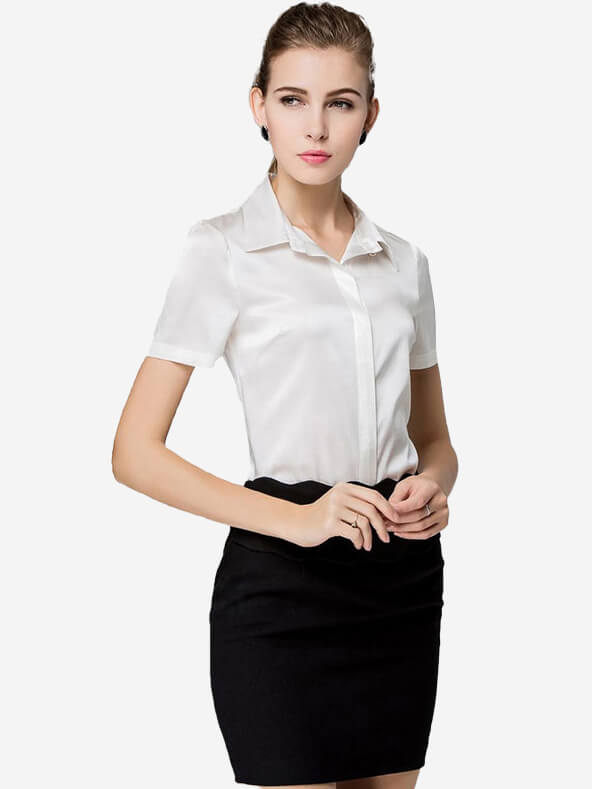 Basic Concealed Placket Short Sleeved Silk Shirt