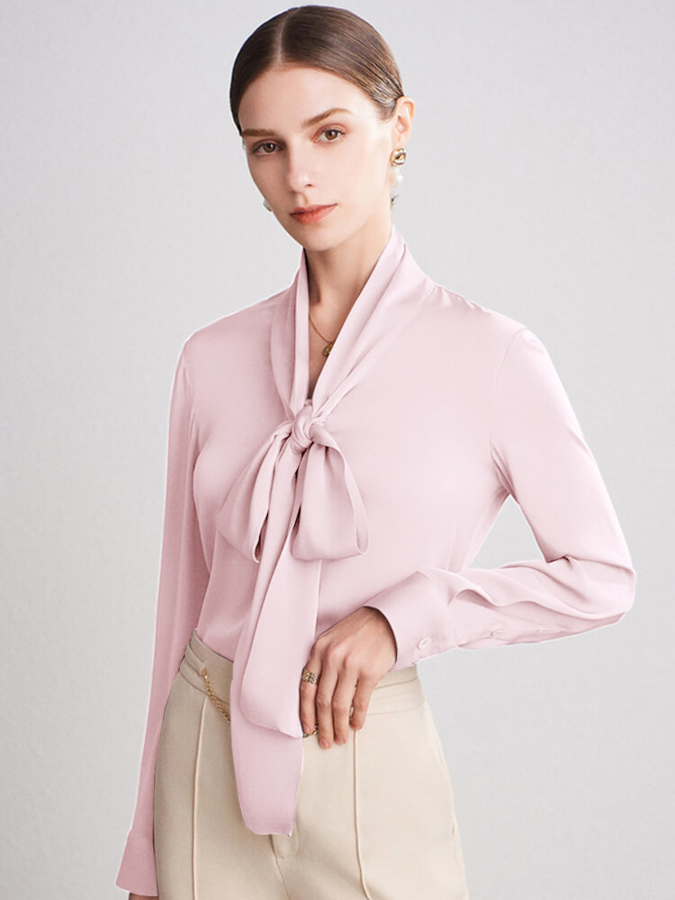 22 Momme Fashion Bow-tie Neck Silk Blouse For Women