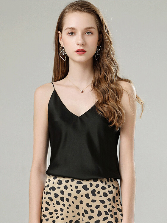 22 Momme Women V-neck Bias Cut Silk Camisole