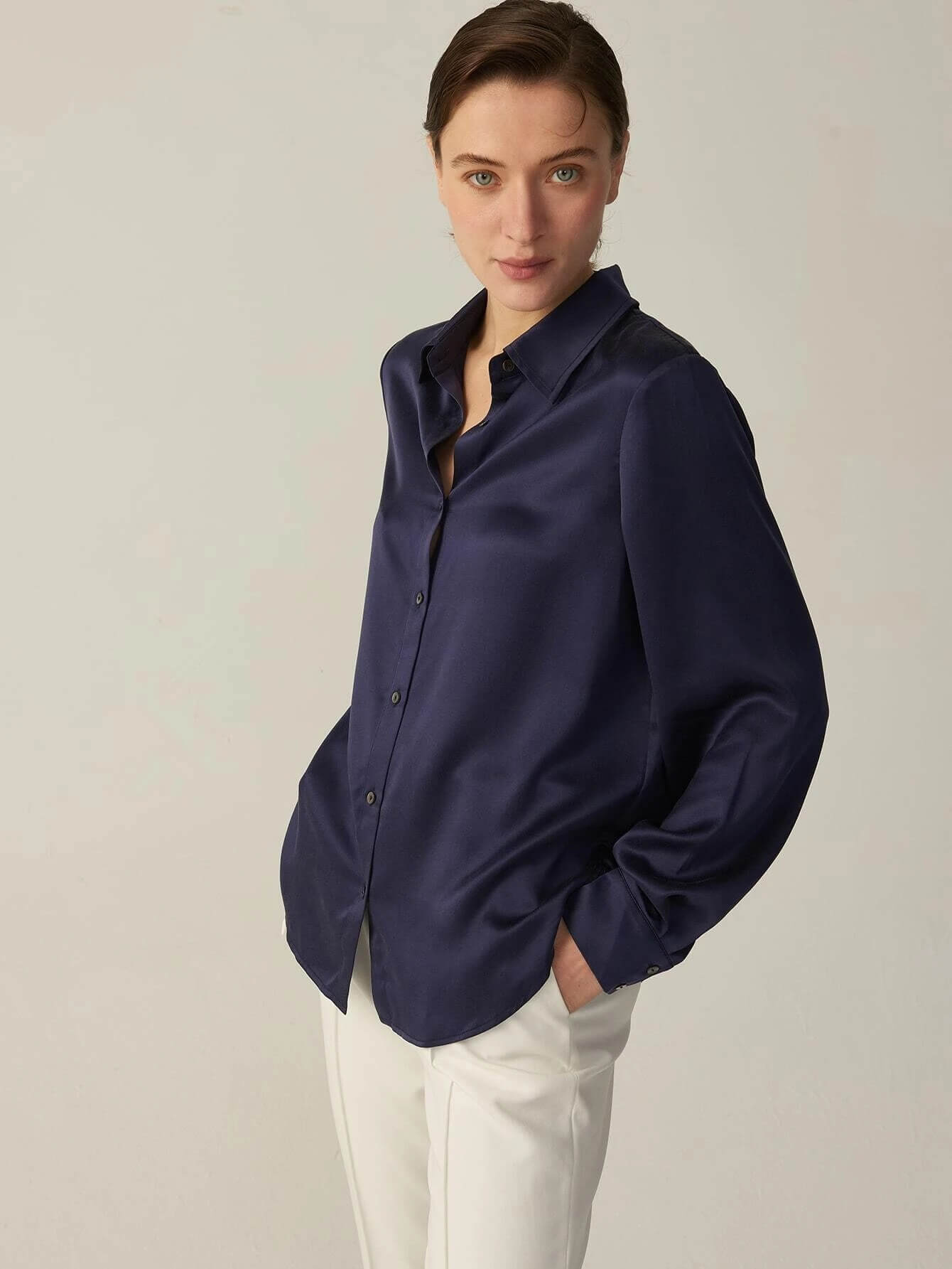 30 Momme Womens Basic Buttons Front Long Sleeve Silk Shirt