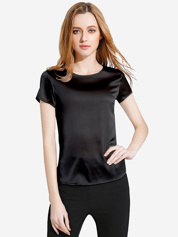 30 Momme Classic Round Neck Silk T-Shirt With Short Sleeves