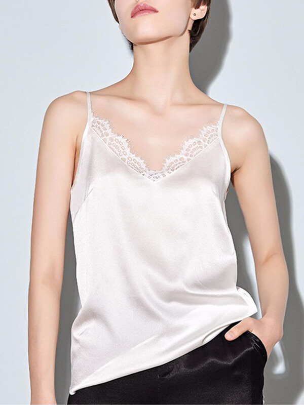 22 Momme Women Silk Camisole With Lace Trim