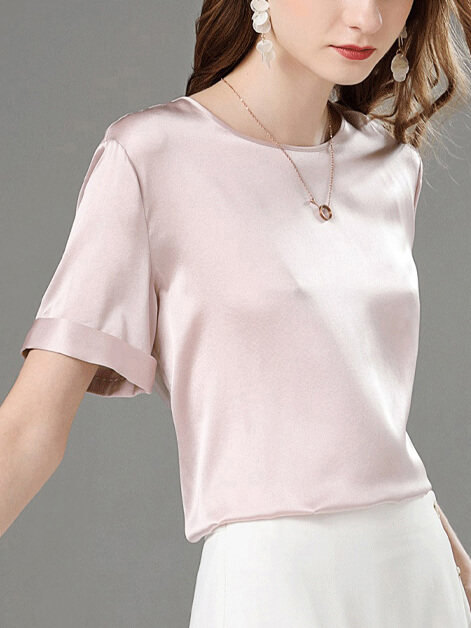 30 Momme Loose Round Neck Silk T-shirts With Rolled Cuffs