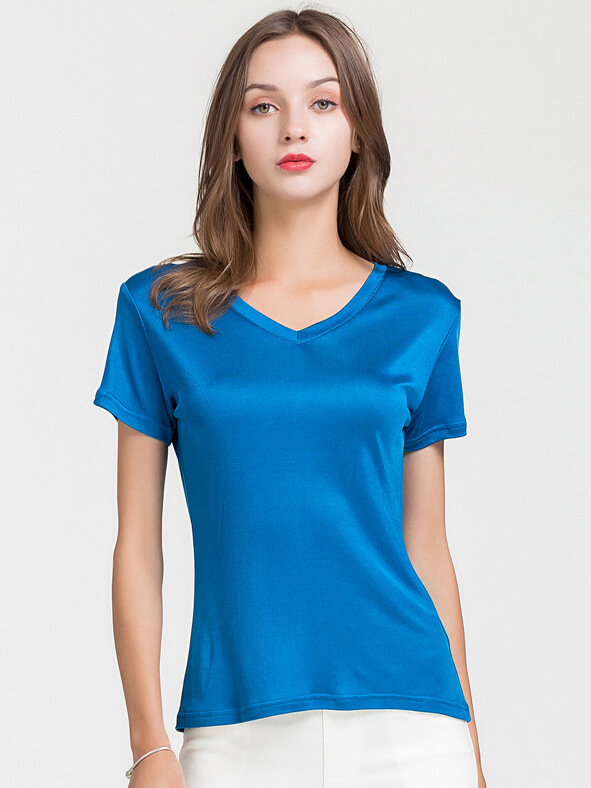 Womens Soft Short Sleeve V-neck Silk Knit T-shirt