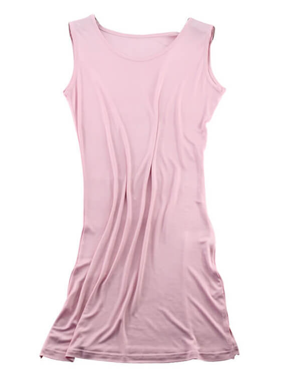 Womens Soft Stretchable Silk Knit Bottoming Nightgown