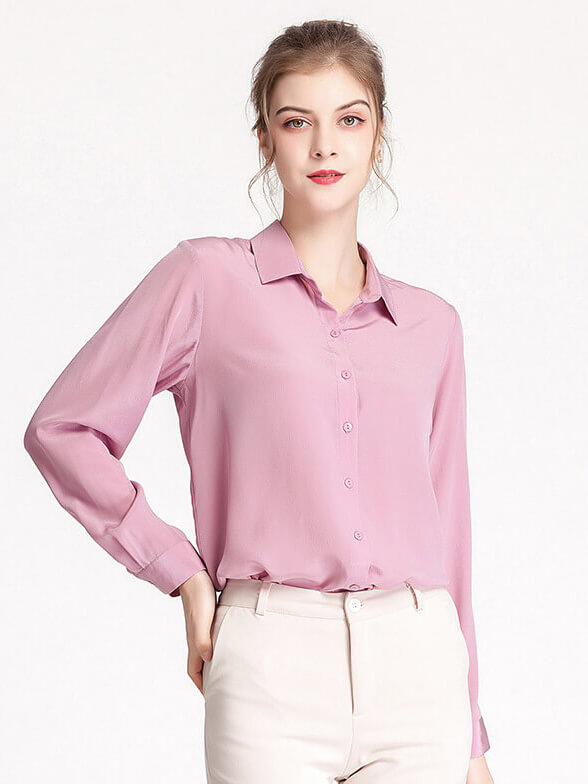 100% Pure Mulberry Button Front Long Sleeve Silk Blouse