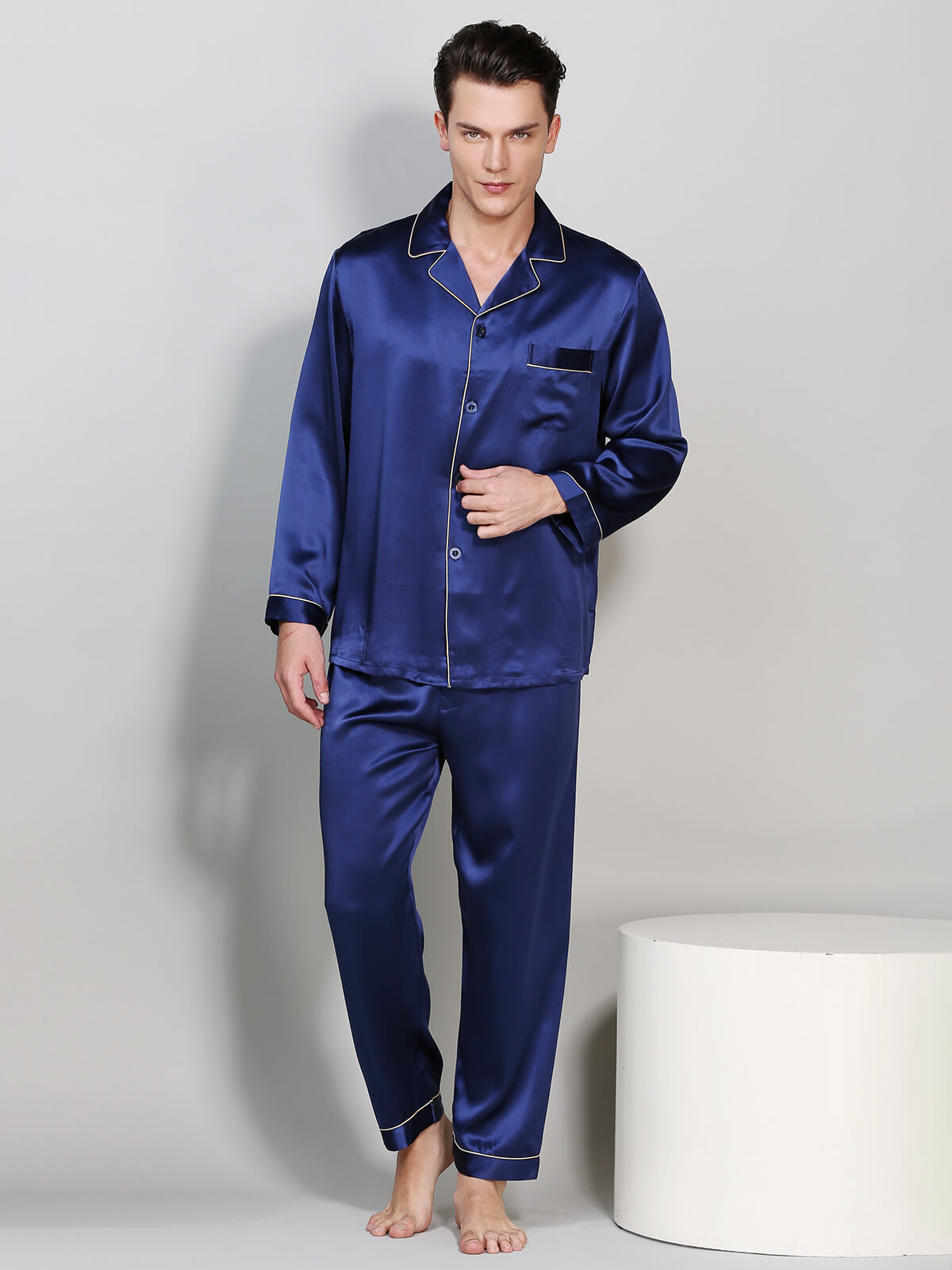 22 Momme Mens Silk Pajama Sets With Trimming