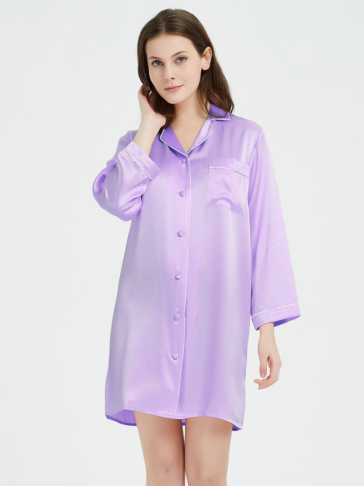 22 Momme Long Sleeved Silk Sleep Shirt With Trimming