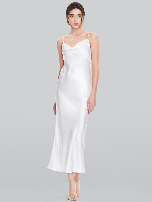 19 Momme Floral Printed Loose Silk Nightgown - Click Image to Close