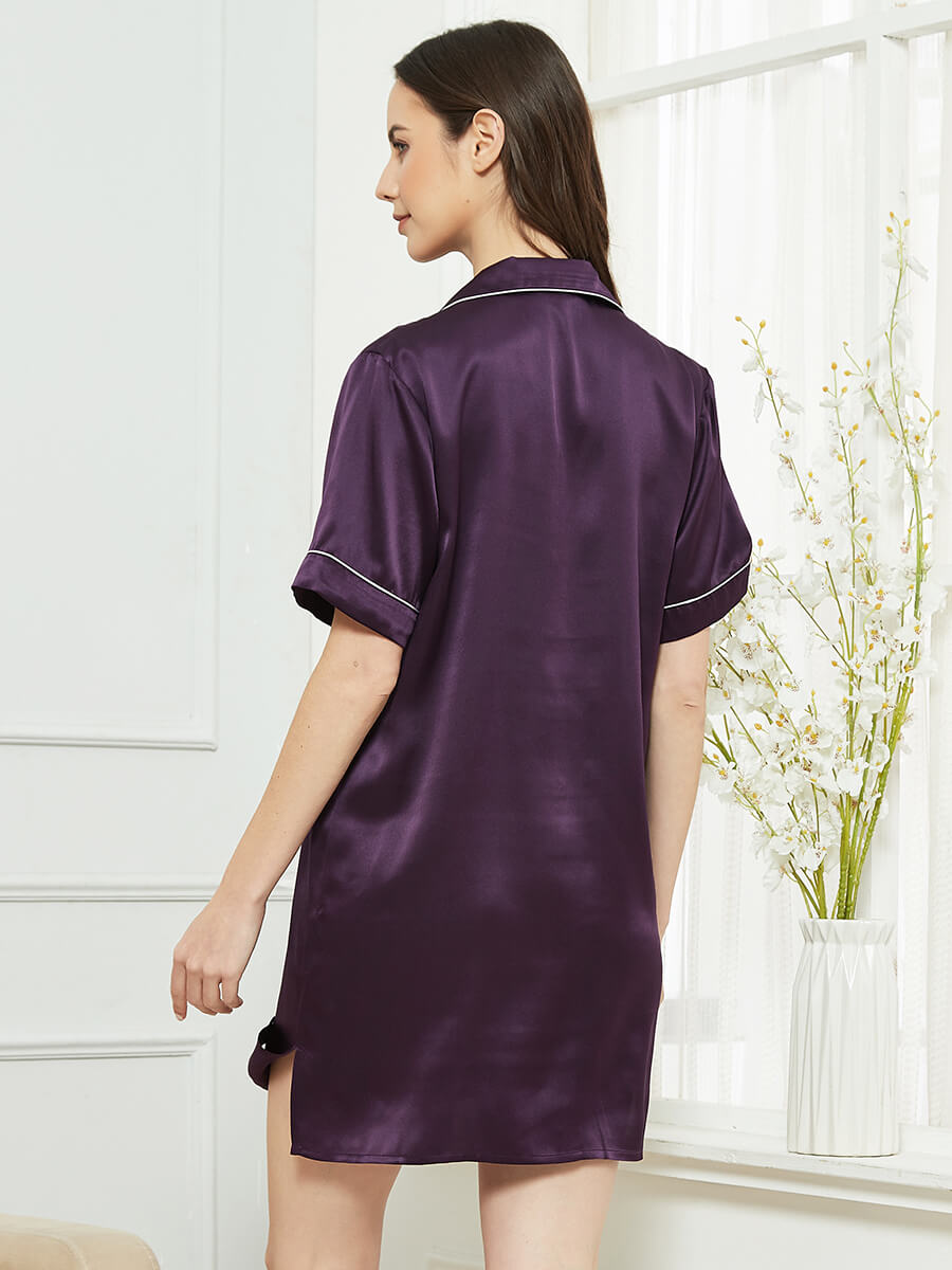 22 Momme Short Sleeved Silk Sleep Shirt With Trimming