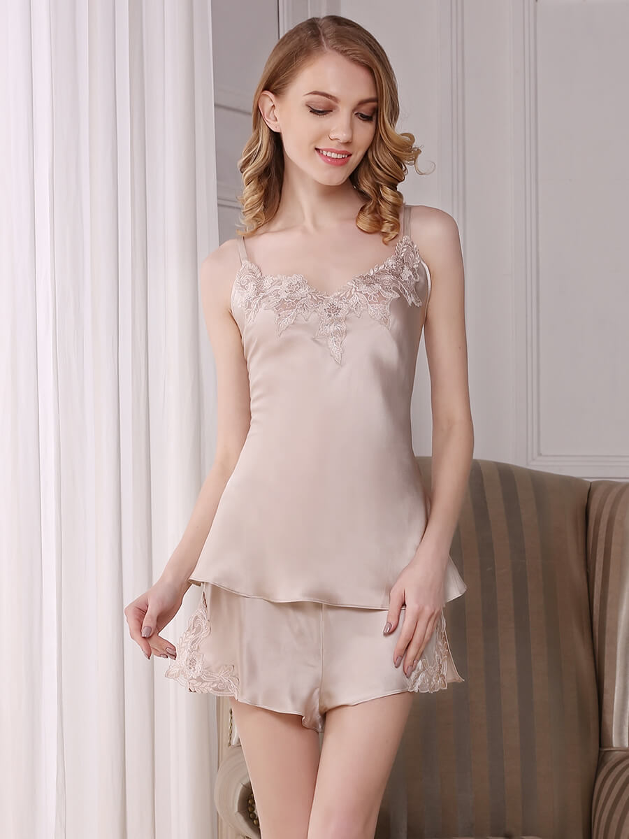 Silk Camisole Set With Exquisite Lace Applique