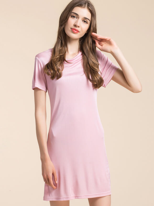 Stretchable Feminine Cowls Silk Knitted Nightgown
