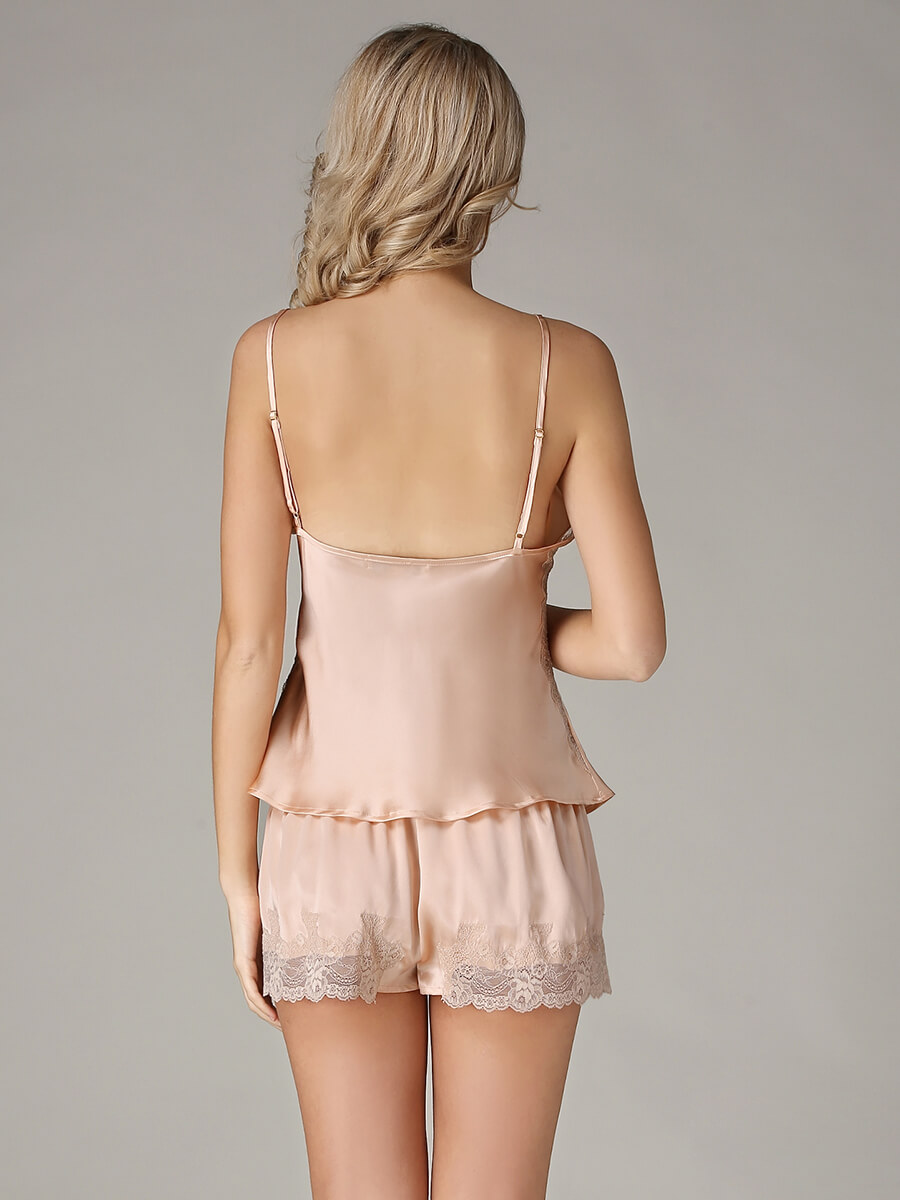 Sexy Lace Trimmed Silk Cami And Shorts Set
