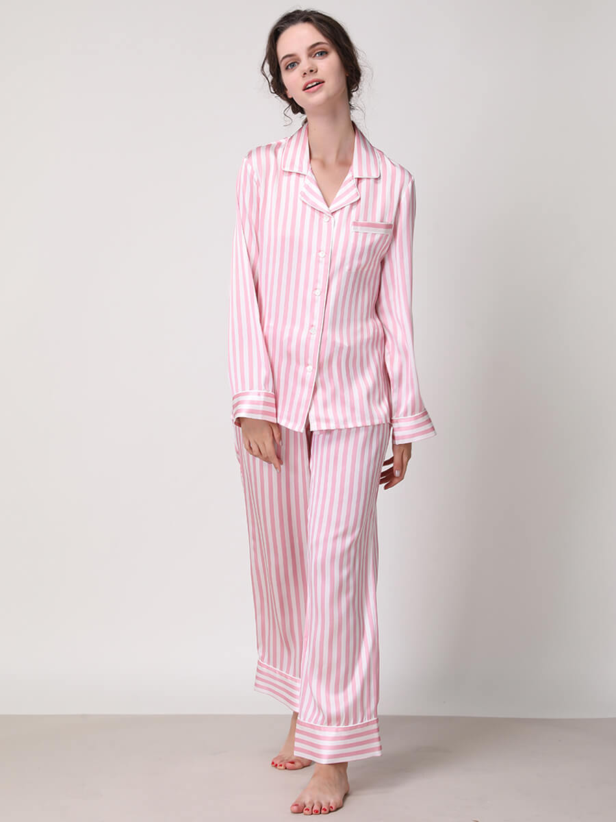 Womens Silk Striped Pajama Sets