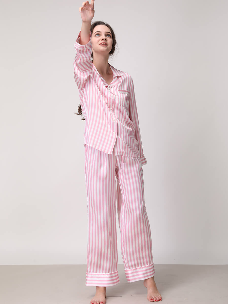 Black And White Striped Silk Pajama Set For Women
