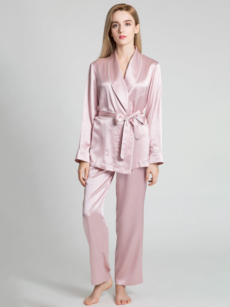 22 Momme Silk Pajama Robe Set For Women