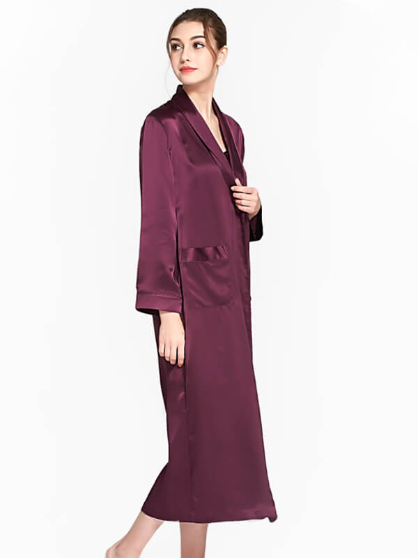 22 Momme Elegant Womens Long Silk Robe With Belt