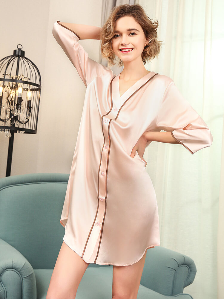 High-Low Style Loose Silk Sleep Shirt