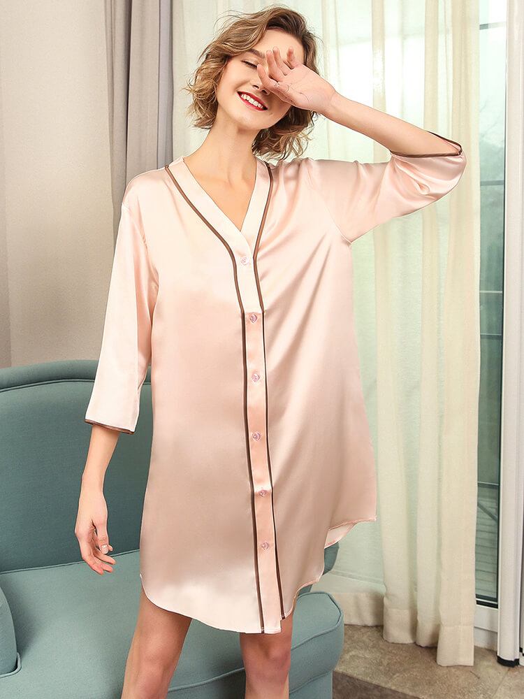 22 Momme Womens Summer Silk Sleep Shirt