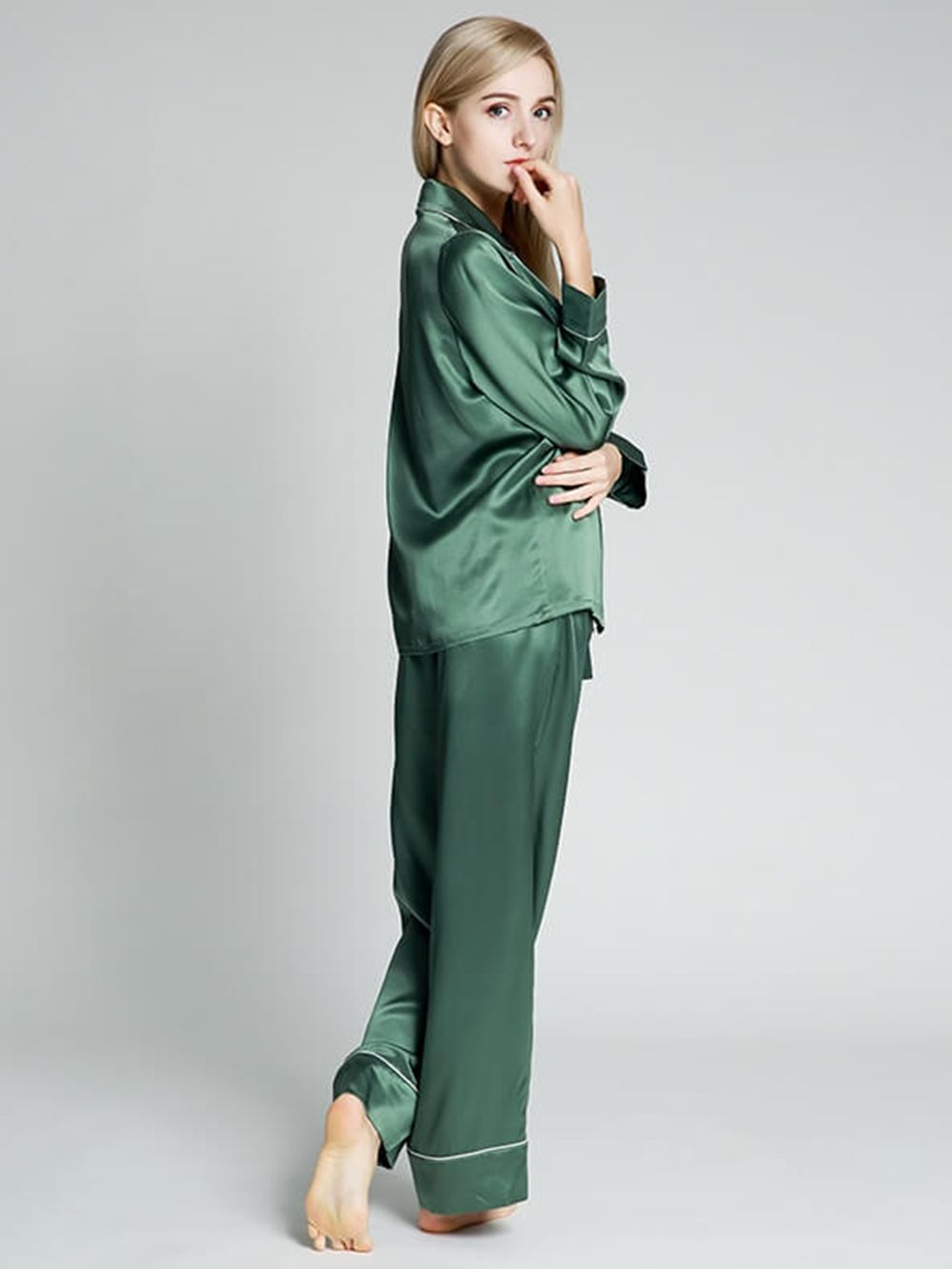 22 Momme Trimmed Long Silk Pajama Set For Women
