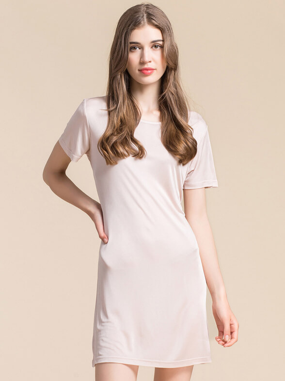 Soft Short Sleeved Knitted Silk Nightgown For Women