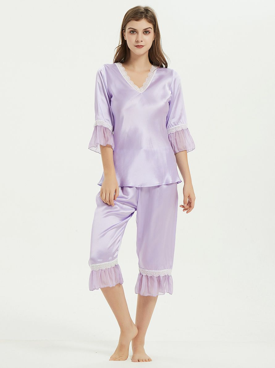 22 Momme Ruffled Short Silk Pajama Set For Women