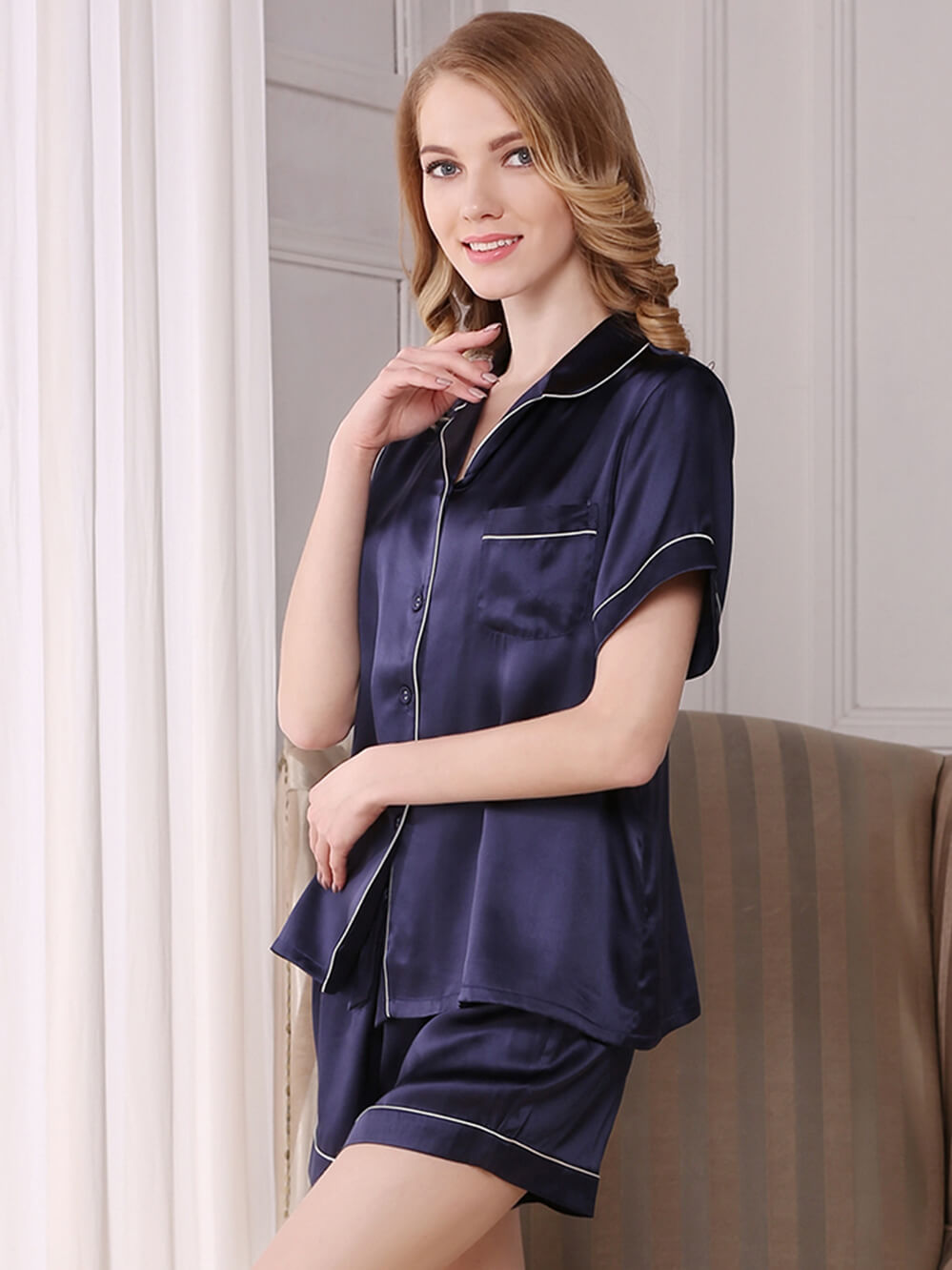 19 Momme Classic Silk Shirt And Shorts Set