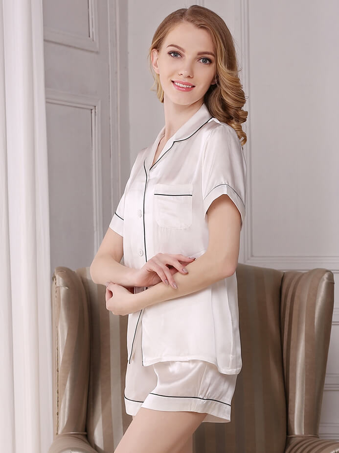 19 Momme Classic Silk Shirt And Shorts Set With Trimming