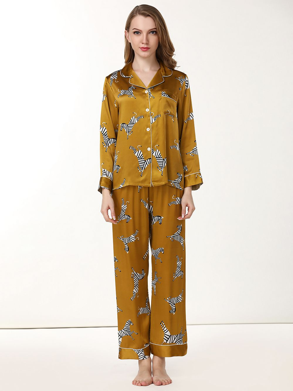 Womens Fashion Printed Golden Silk Pajama Set