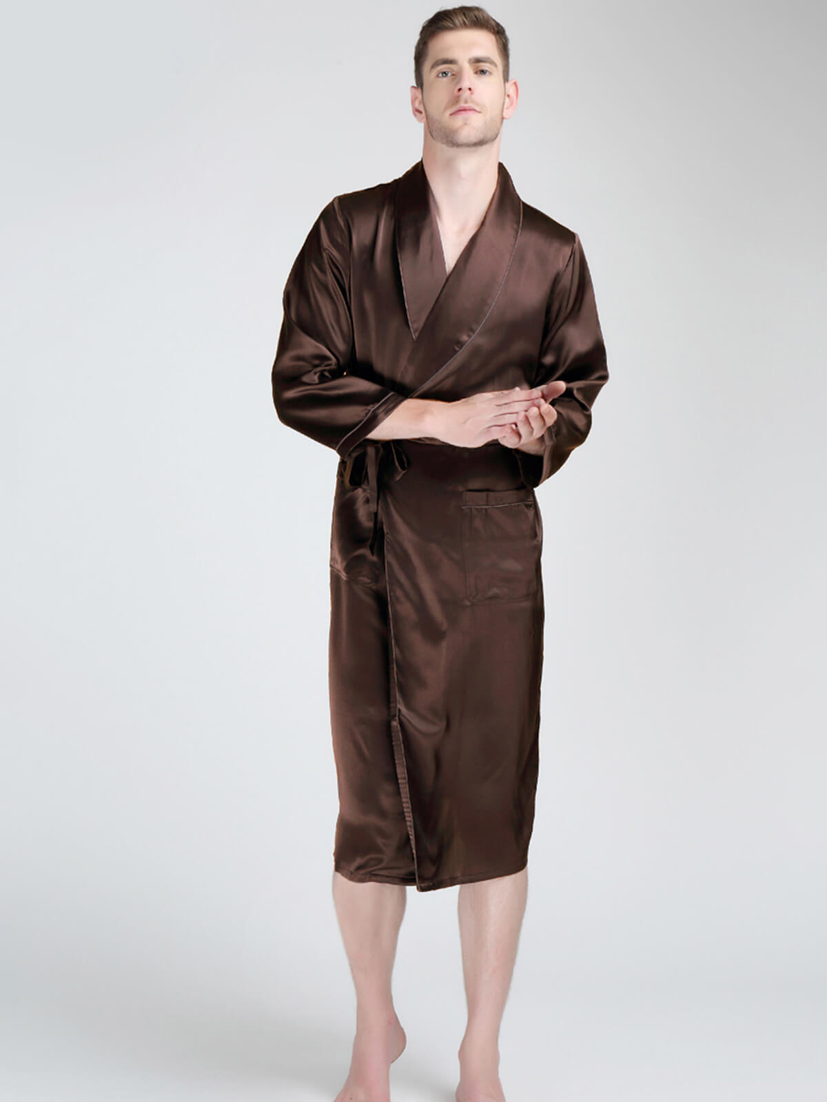 22 Momme Lapel Collar Long Silk Robe For Men