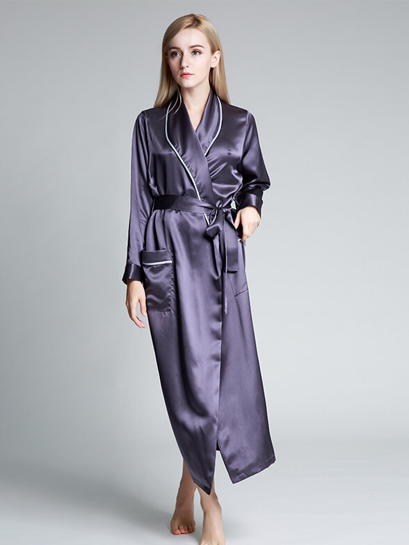 Floor-length Women Luxury Silk Bathrobe Gown With Wide Piping