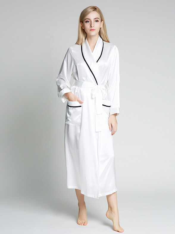 22 Momme Full Length Luxurious Silk Robe With Piping