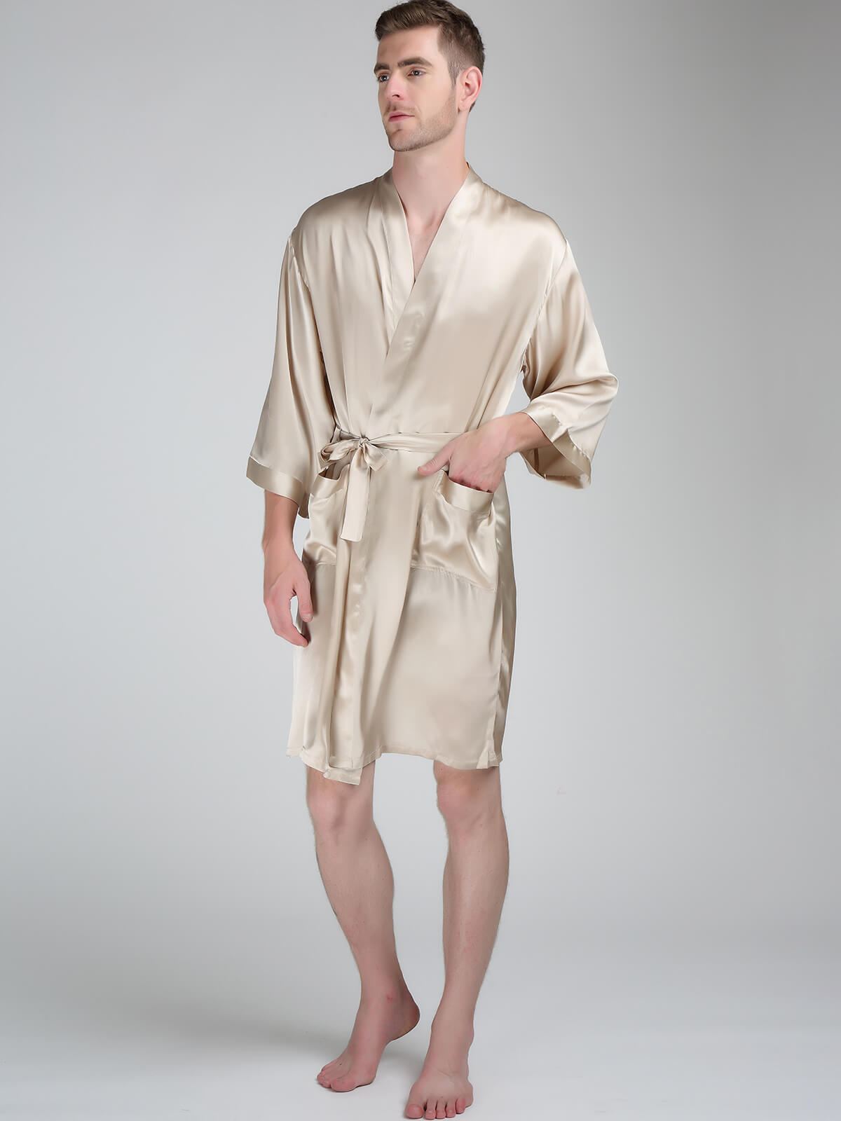 22 Momme Simple Stand Collar Silk Robe For Men